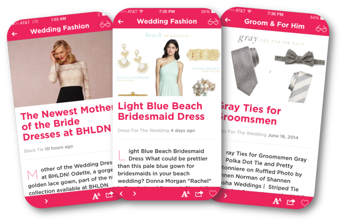 Top wedding blogs like Dress for the Wedding  are on BridalPulse - the best wedding app