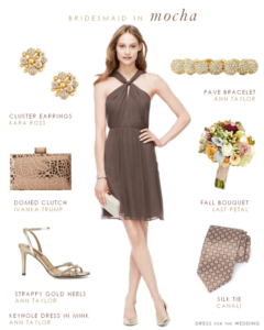 Mocha soft brown bridesmaid dress