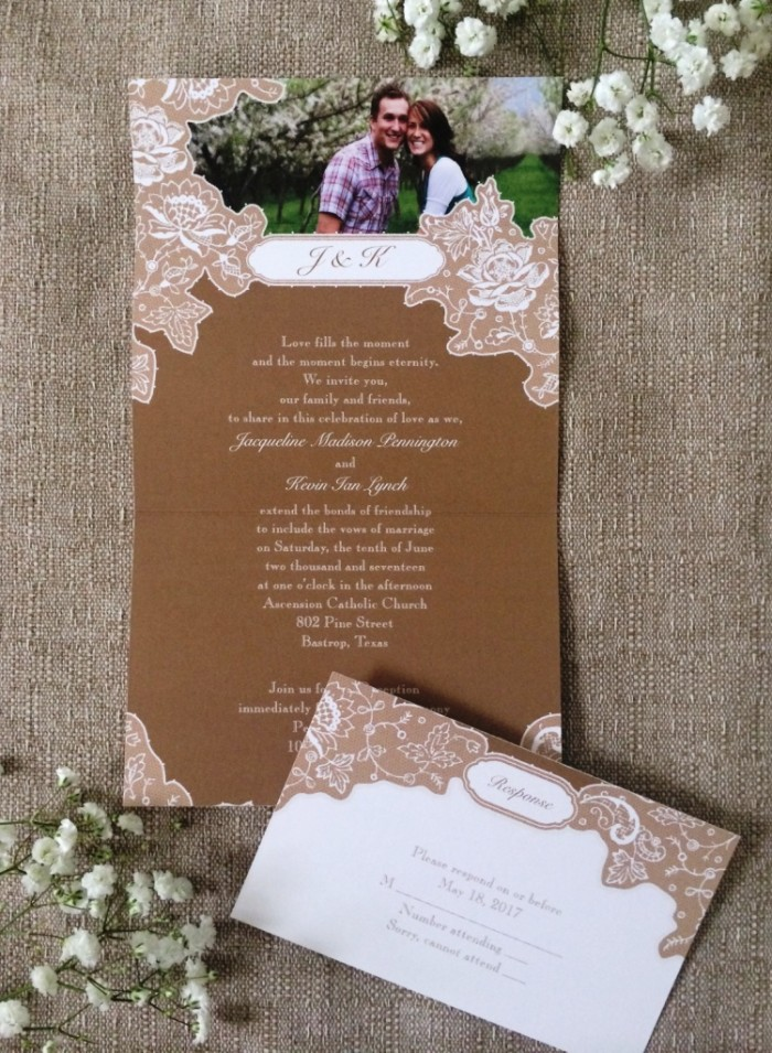 Get the Rustic look for less! Romantic Details Invitations from Ann's Bridal Bargains