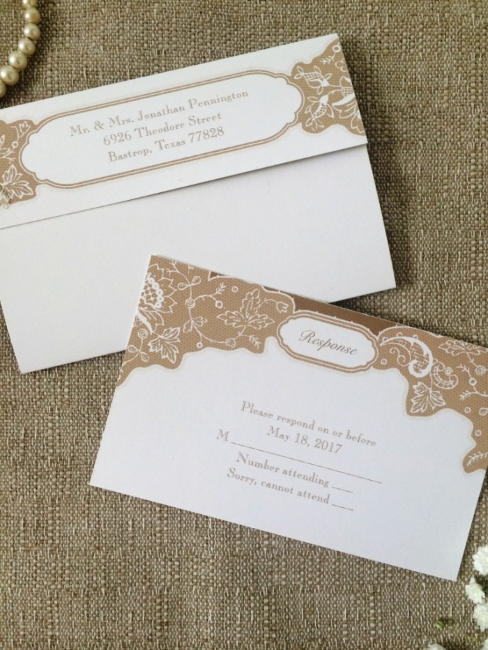 Rustic wedding invitations from Ann's Bridal Bargains