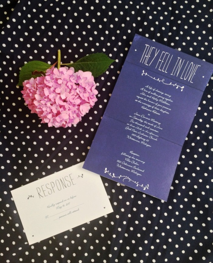 Pretty send and seal invitations from Ann's Bridal Bargains