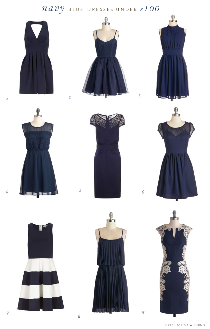 Navy blue dresses under 100 for Navy blue dresses for wedding