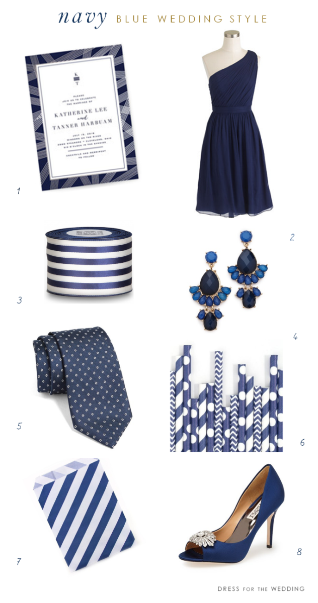 Navy Blue Wedding Decor + Attire Ideas www.dressforthewedding.com