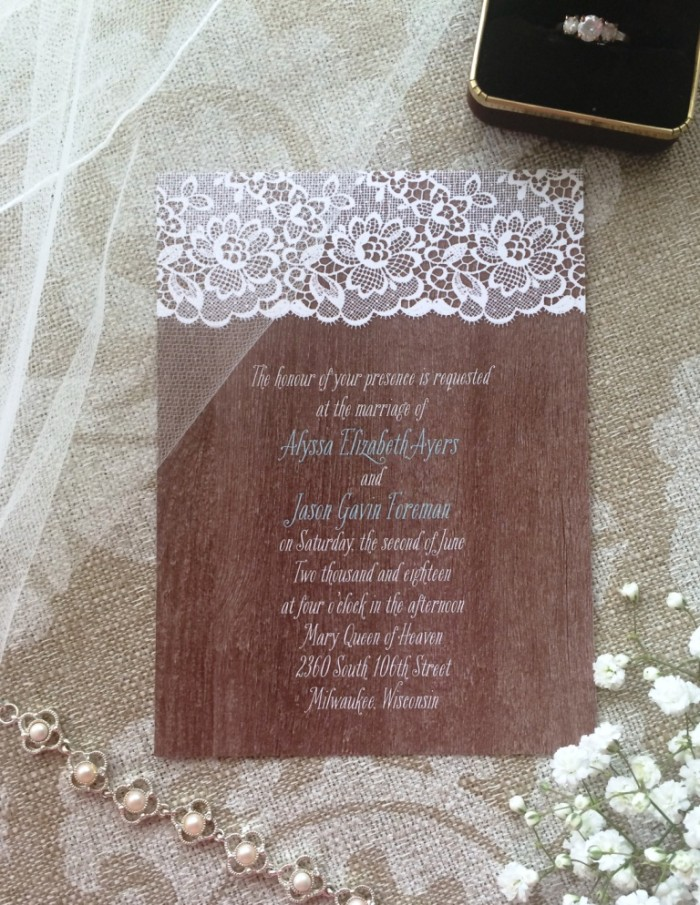 Cute rustic woodgrain invitations!