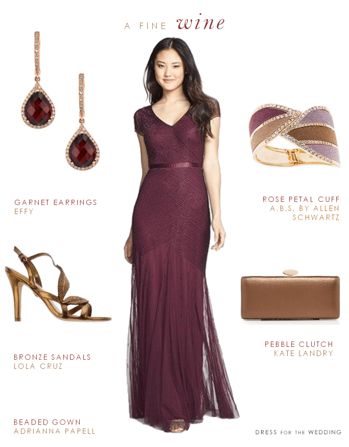 wine colored mother of the bride gown
