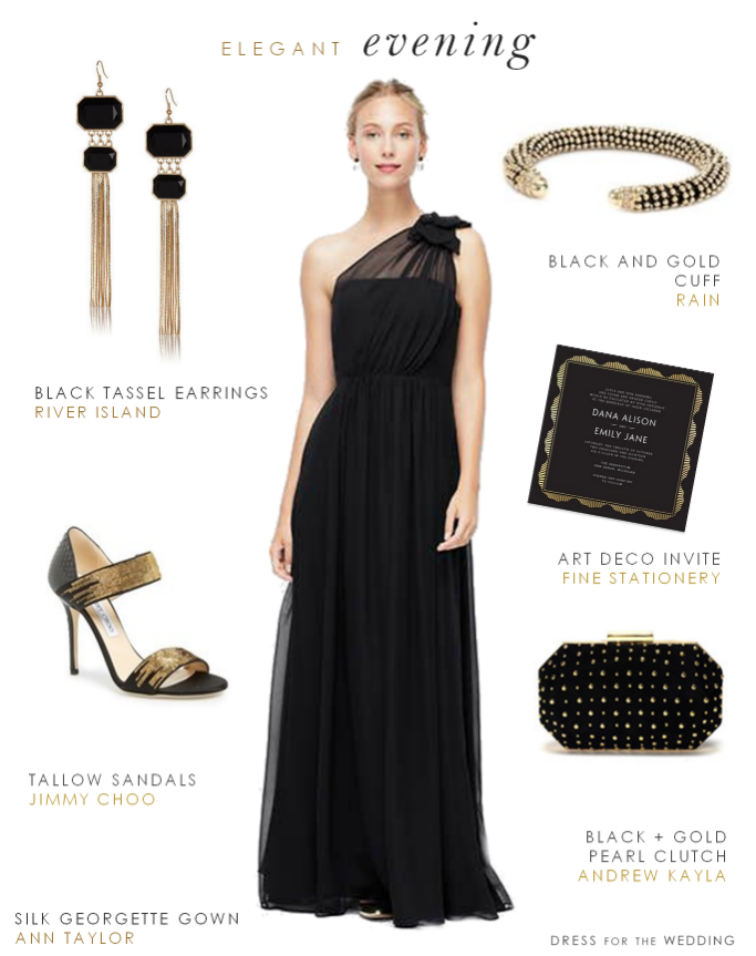 Black evening gown for a wedding for How to dress for an evening wedding