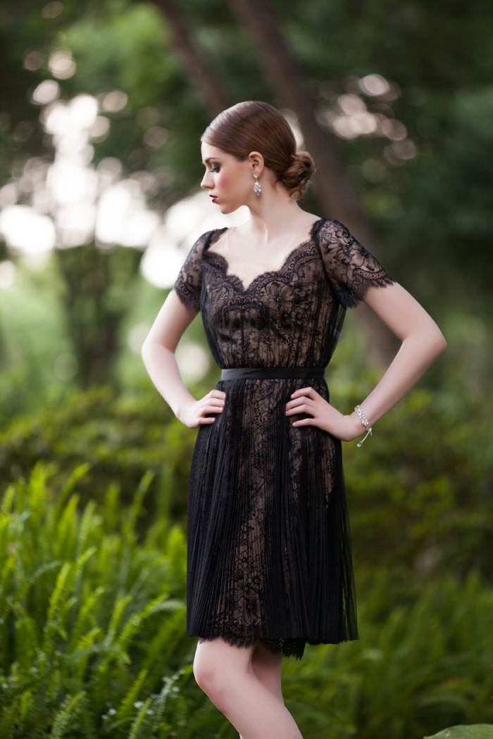 Black lace dress from Solutions Bridal Designer House | Photographed by  Betsy Hansen of Hundreds of Moments Photography | See more: https://www.dressforthewedding.com/
