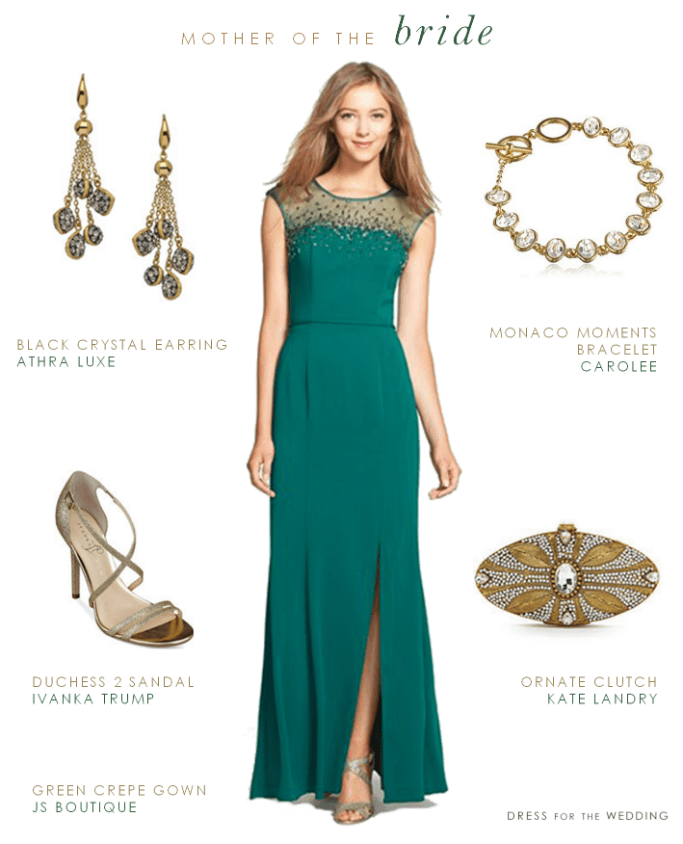 Green gown for the mother of the bride
