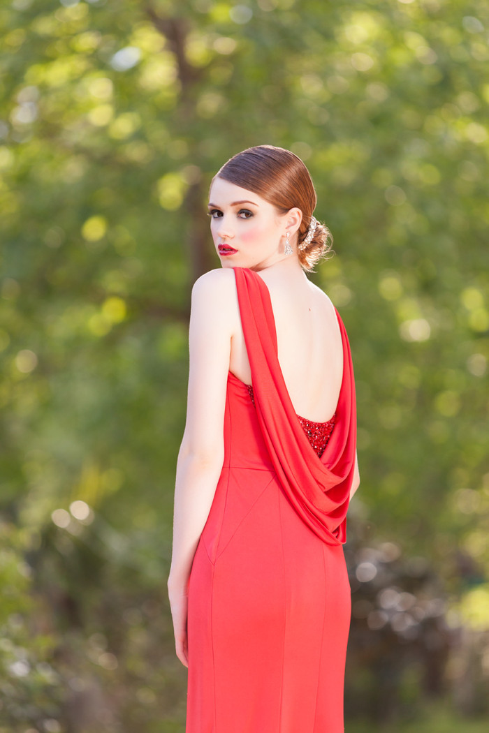 Red evening gown back detail | Photography by Hundreds of Moments http://www.hundredsofmoments.com/ Dress by  http://solutionsbridal.com/
