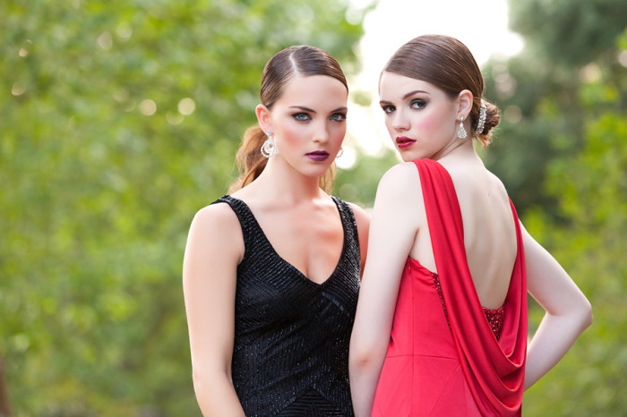 Red and black evening gowns by Solutions Bridal Design House