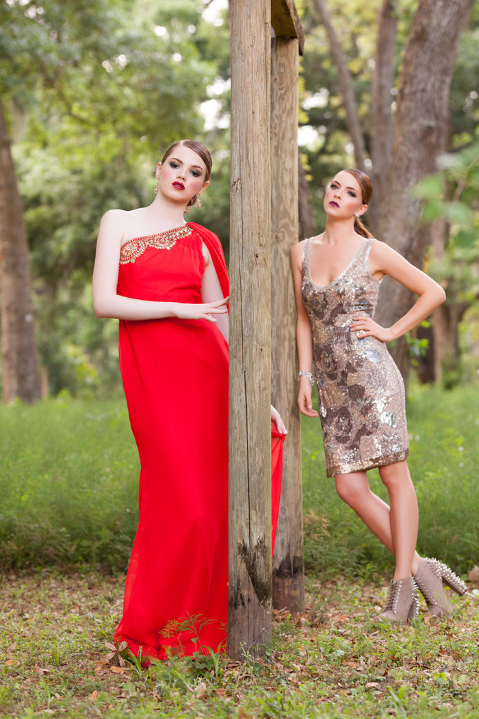Red evening gown and sequin dress from Solutions Bridal Design House