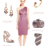 Satin one shoulder bridesmaid dress in mauve