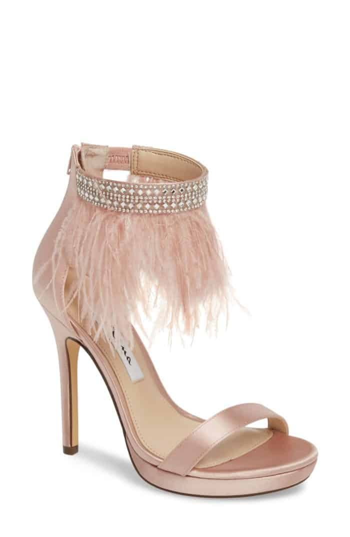 pink feather wedding shoes by nina