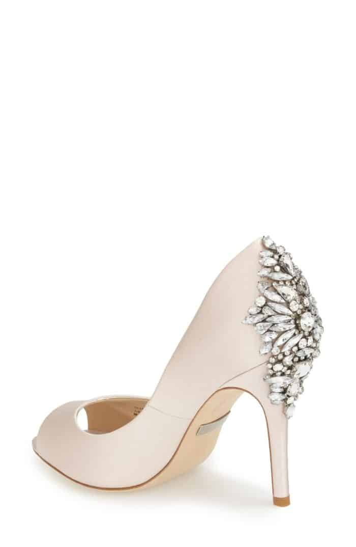 blush satin and crystal heels
