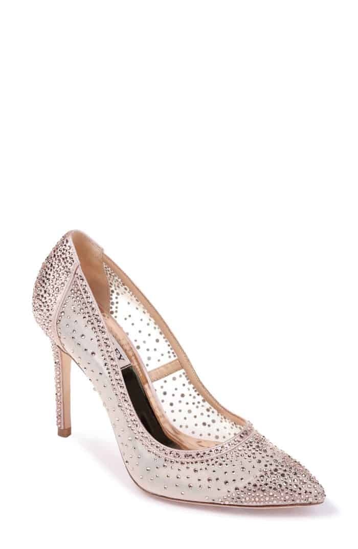 pink crystal bridal shoes for a wedding