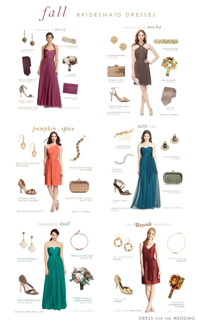 Bridesmaid dresses for fall weddings for Dresses to wear to an october wedding