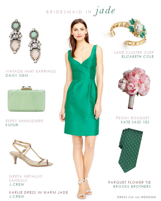 Emerald jade green fall wedding bridesmaid dress
