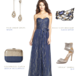 Metallic blue strapless gown