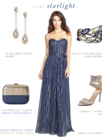 Metallic blue strapless gown