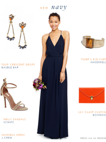 Modern navy maxi dress for bridesmaids or wedding guests