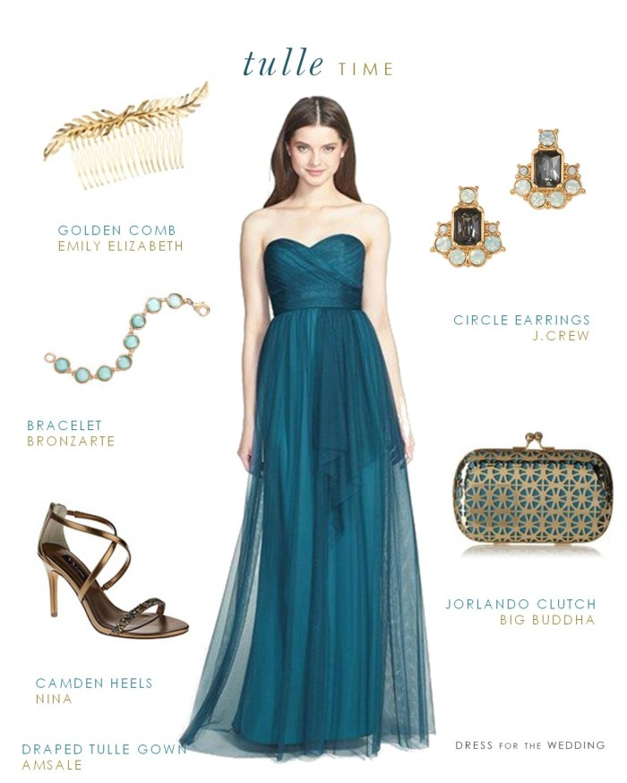 Peacock Blue  Bridesmaid Gown For Fall Weddings