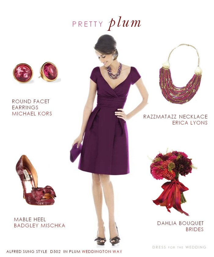 Plum Bridesmaid Dress with cap sleeves for fall weddings