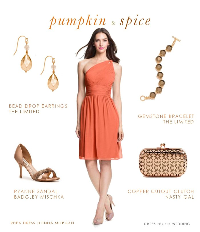 Pumpkin Orange One Shoulder Bridesmaid Dress For Fall Weddings