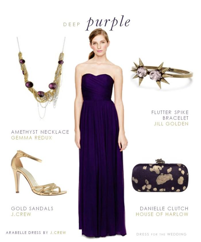 Purple Strapless Sweetheart Bridesmaid Dress