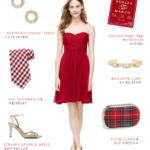 Short cocktail length strapless red bridesmaid dress for fall