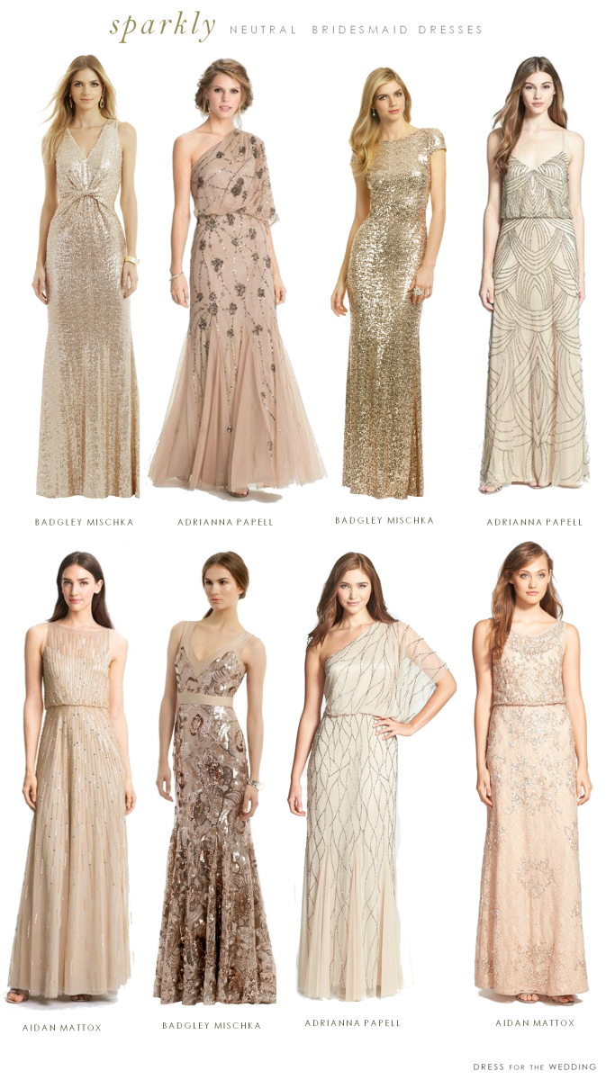Mismatched neutral bridesmaid dresses mismatched sequined and beaded bridesmaid dresses ombrellifo Images