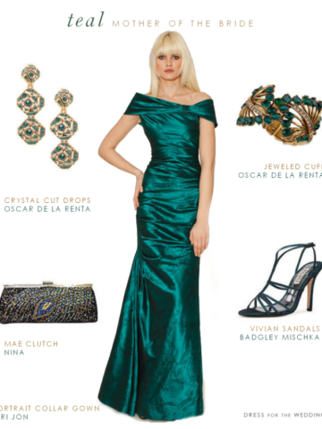 Teal evening gown for mother of the bride or mother of the groom