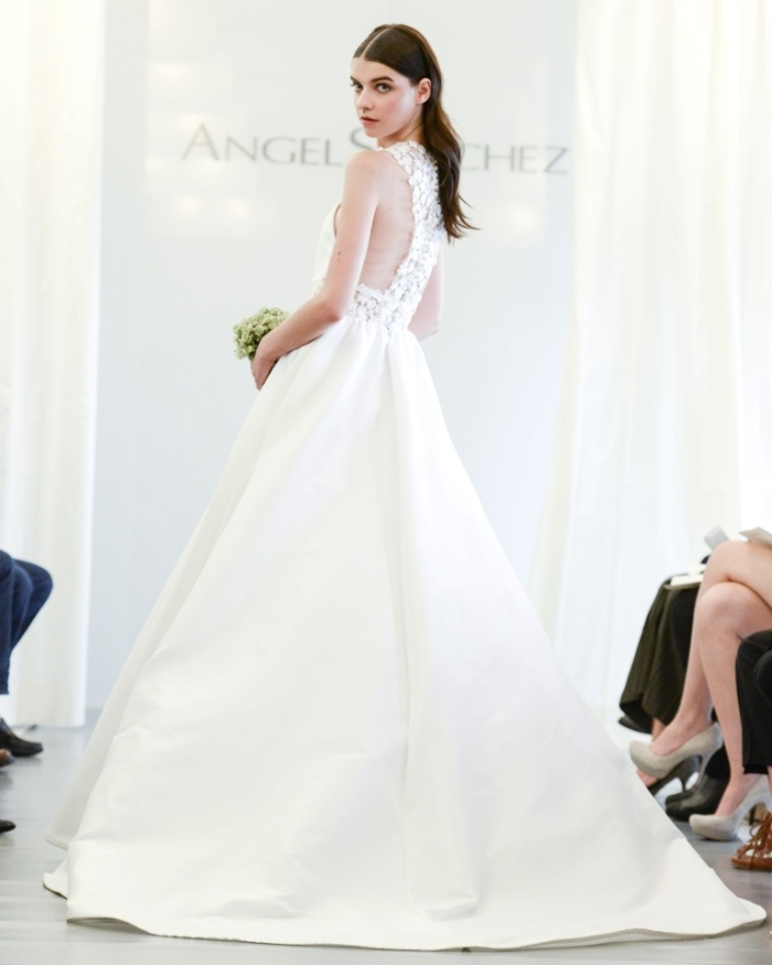 Angel Sanchez Wedding Dresses 2015 lace cut out back ball gown skirt