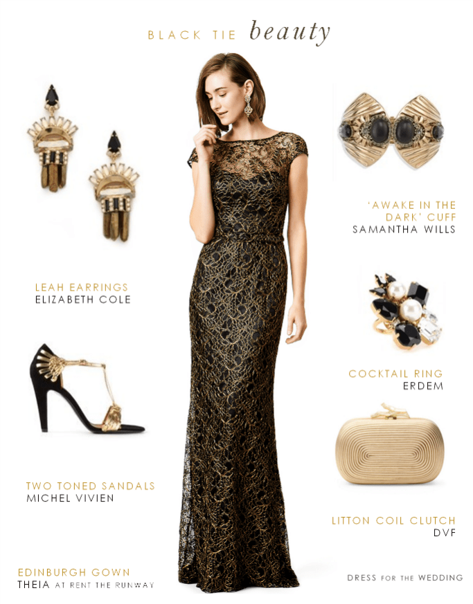 Black and Gold Lace Evening Gown