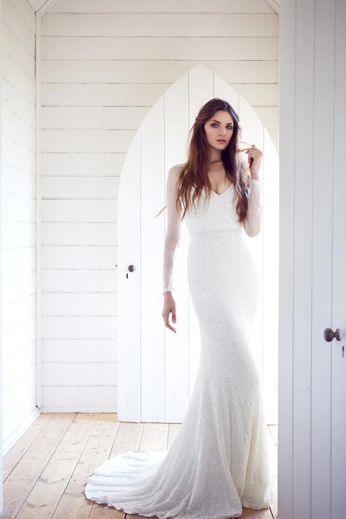 Carina by Karen Willis Holmes, a long sleeve sequin wedding dress
