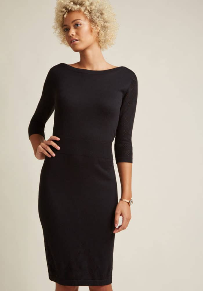 Chic black dress with sleeves under 100