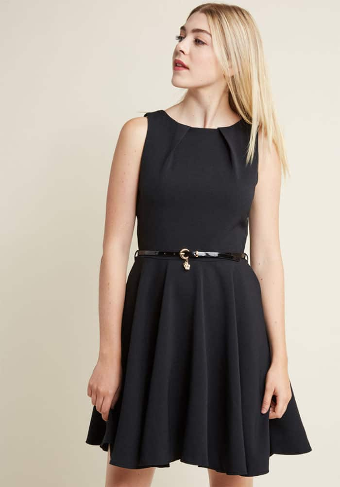 Inexpensive Fit and flare black dress with pockets