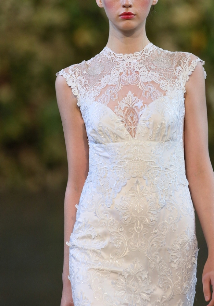 Jophiel lace wedding dress by Claire Pettibone neckline detail