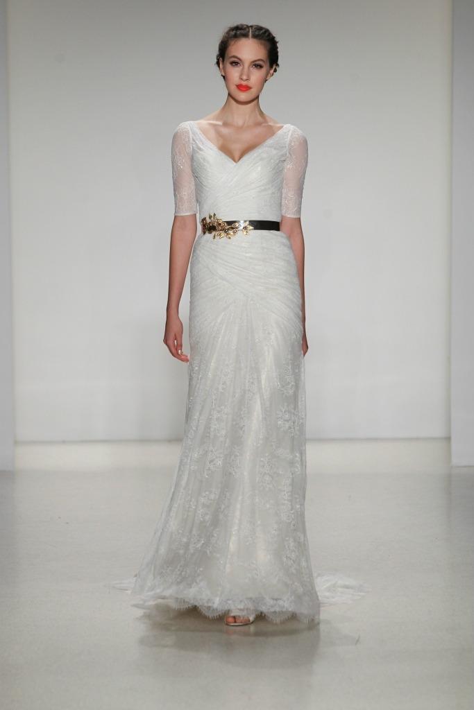 Jorgette lace half sleeve lace wedding dress by Kelly Faetanini