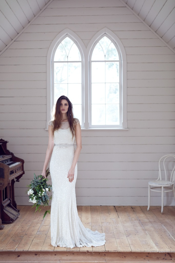 KWH Wedding Dresses Harriet wedding gown a sequin wedding dress with cap sleeves by Karen Willis Holmes Designer Wedding Gowns