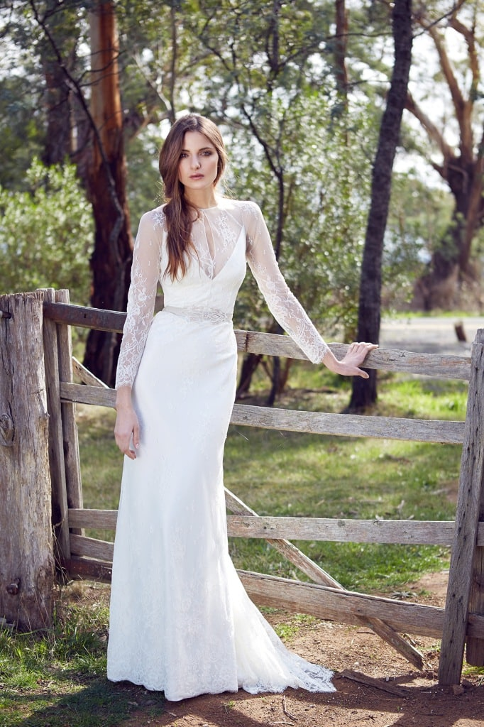 Karen Willis Holmes Wedding Dress called Arielle, a long sleeve lace wedding dress