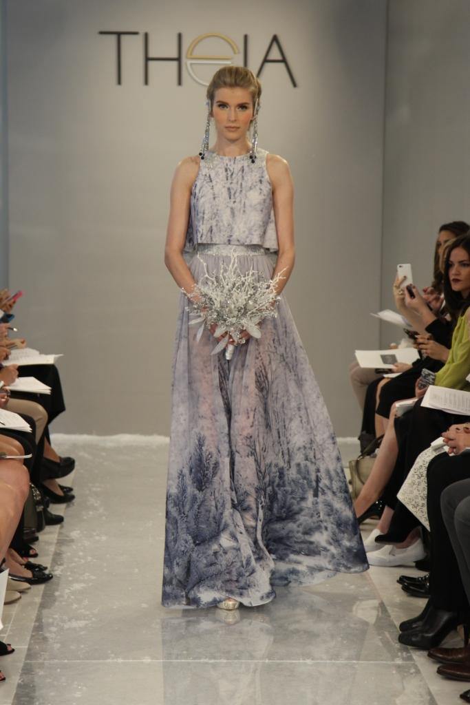 Silvia,  an ice blue wedding dress Theia White Collection Fall 2015
