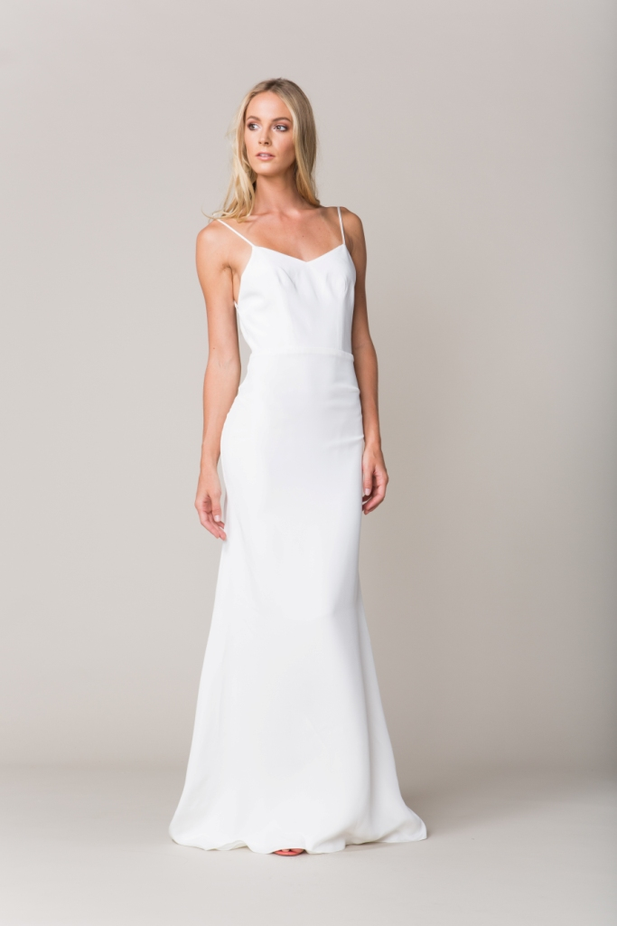 Spaghetti strap wedding dress with open back | 'Marseilles' by Sarah Seven Fall 2016