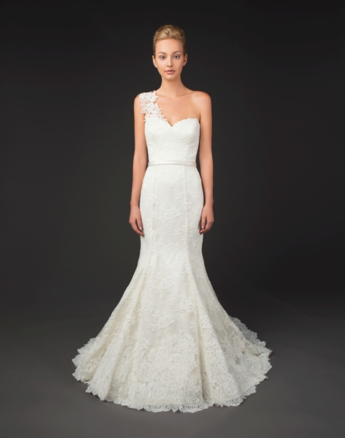One shoulder wedding gown Kenzi by Winnie Couture Diamond Label