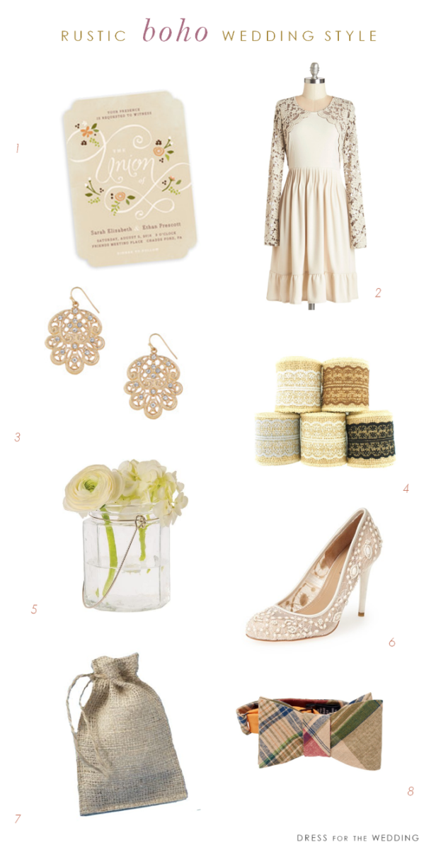 Rustic wedding style with a bohemian twist