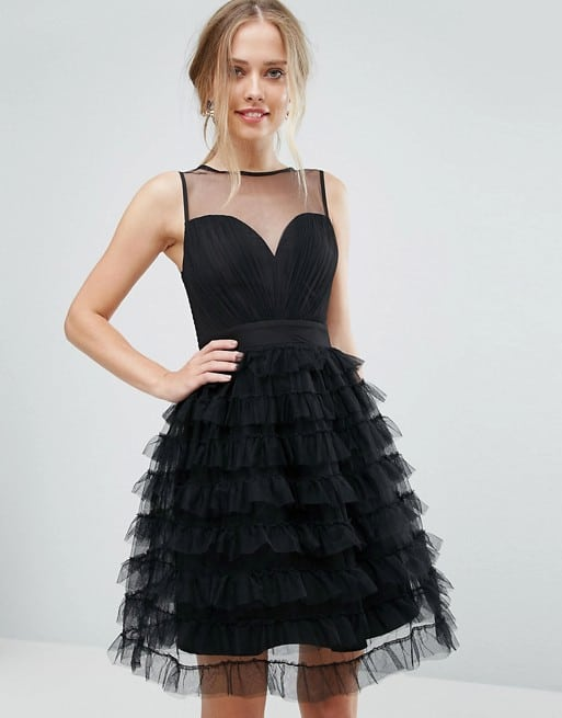 Short Black Tulle Party Dress