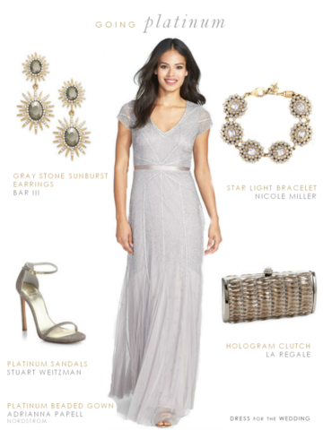 Silver Evening Gown for a Wedding