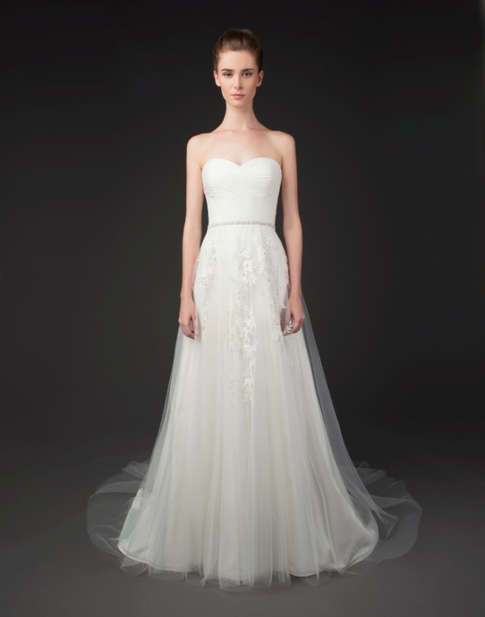 Valerie strapless wedding dress with sheer overlay