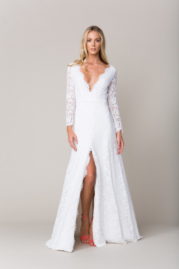Lace wedding dress with sleeves and deep v neckline| 'Versailles' by Sarah Seven