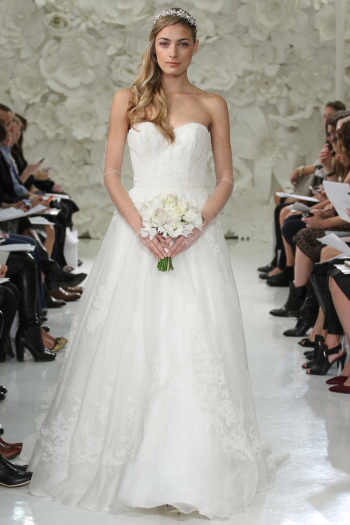Asher wedding dress style 7000B Ivory, full a-line, embroidery on Silk Organza on bodice, sweep train.