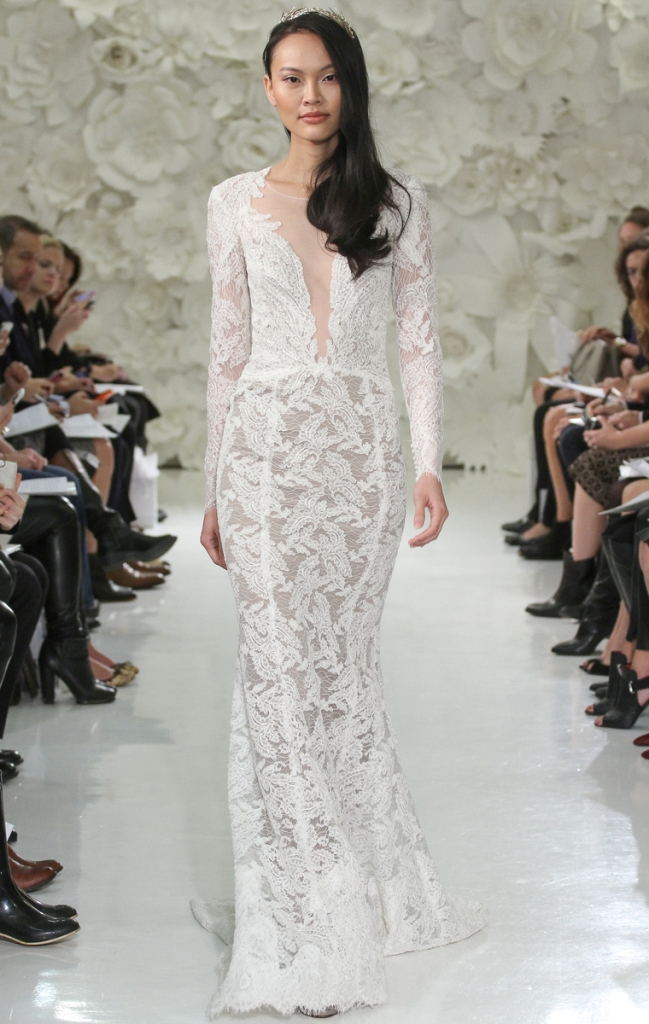 Watters wedding dresses Aziza style 7054B Nude/Ivory/Bronze, long sleeve, fit & flare, plunging neckline, sweep train.